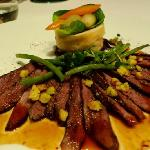 Duck Breast - it was medium well done. Tender and juicy