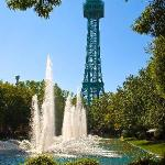 The Park's iconic Eiffel Tower and fountains