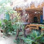 un angolo del giardino dell'ostello