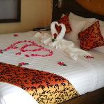Our honeymoon decorated bed