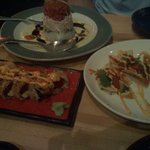 Ahi nachos, Trophy Club roll, and Ahi Tower! Amazing!!