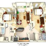 The Point Orlando's 1-BR Family Suite offers extra room, at 1,100 sq. ft.