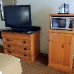 LCD TV, microwave, fridge