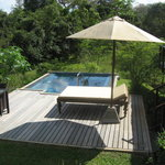 Our plunge pool area and lounger
