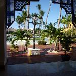 View from the lobby out to the pool area