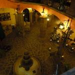 Looking down to the lobby at night