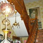 First floor carved Oak staircase / Antique electrfied Post Gas lamp / Vintage 1912 Poster