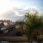 a view of the beach from apartments