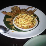 Over cooked soft shell crab with old mango