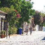 Callecita de adoquines con santarritas en flor / Little cobbled street with bouganvilles