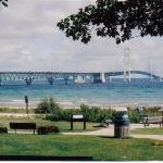 Mackinac Bridge across the road.