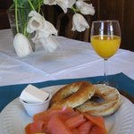 Smoked salmon and a Montreal style bagel is a popular breakfast choice