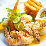 Grilled Prawns with Fat Chips