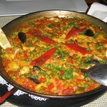 Seafood paella --- lots of fish, clams and prawns!
