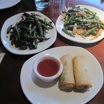 Crispy Green Beans, Spring Rolls and  Sichuan-Style Asparagu