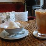 Coconut ice cream and Thai iced tea after a hot stroll in the city