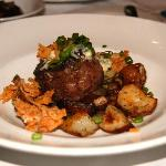 Filet Mignon  with Thyme Roasted Red Bliss Potatoes, House Cured Bacon, Maytag Blue Cheese, Toas
