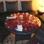 Romantic candle lit dinner