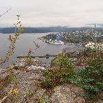 Blick von James Cook Historic Site auf Schiff und Papierfabrik