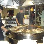 chefs cooking in Mongolian Restaurant