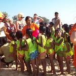 childrens orphanage havingday on beach