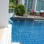 Just step in from the room. Pool Access,