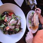Steak sandwich and Lamb salad