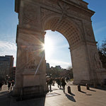 Sun peeks through Washington Memorial Arch in Greenwich Village