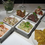 Six ceviche sampler with tostones - plenty for two to share for a midday meal!