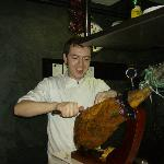 Danny carves the ham!