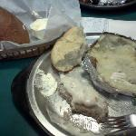 Country fried steak,baked potato&rolls