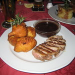 Roasted breast of goose with plum sauce