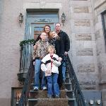 "Our family in front of our ""Montreal home"""