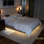 Plush bedding with mood lighting