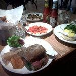 Rare roast beef sandwich, eggs benedict, four root veg crisps (aka kerepek!), roasted tomatoes &