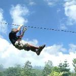 Zipline in the red circuit of Bali Treetop