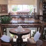 Upstairs library and seating area (opens to balcony)