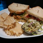fried cod sandwich with fries and slaw