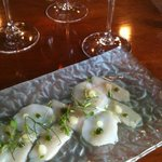 Hamachi and scallop crudo