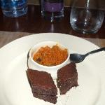 Halwa (carrot) and chocolate cake
