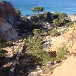 Visto desde arriba, el caminito a la playa
