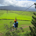 My son on the last zipline of the day.
