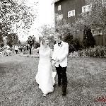 Profesional wedding photo near the reception barn.