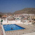View of Cactus 1 pool from the main door of block