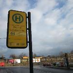 The bus stop ~50m away