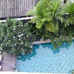 View of the pool from our 5th floor balcony