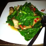 Stir fried belly pork with Thai broccoli and spinach