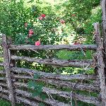 charming rustic fence on grounds of Carriage House Inn adds character