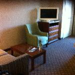 Comfortable suite with swivel flat screen TV