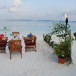 Our beach BBQ dinner infront of our beach bungalow